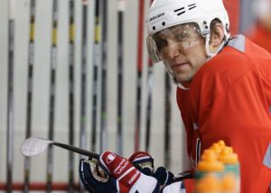 Ovechkin takes a break during Tuesday's practice. (Photo: Carolyn Kaster)