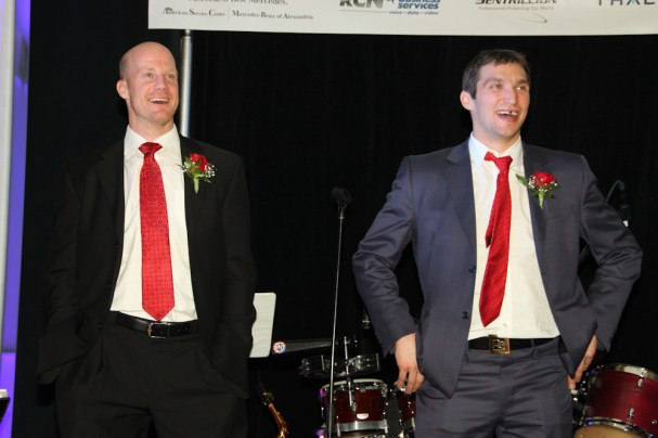Jason Chimera and Alex Ovechkin share a laugh at Caps Care Casino Night