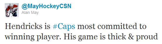 Hendricks is #Caps most committed to winning player. His game is thick & proud