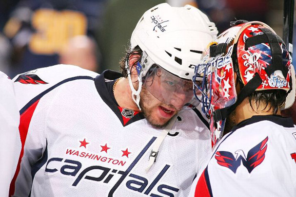 Alex Ovechkin celebrates the Capitals 3-1 Victory with Jose Theodore