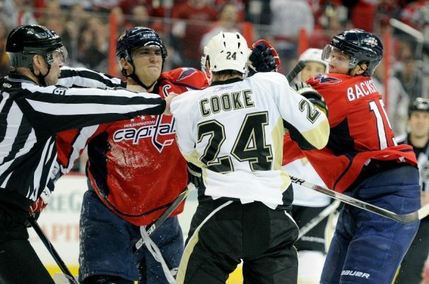 Alex Ovechkin and Nick Backstrom look for revenge on Matt Cooke.