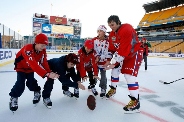 Alex Ovechkin has some fun with kids