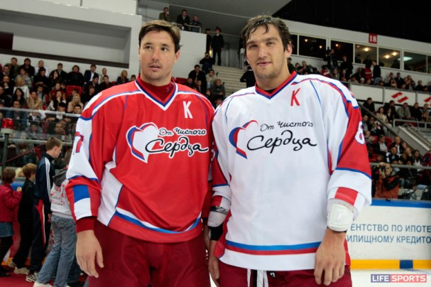 The two kapitans, Ilya Kovalchuk and Alex Ovechkin