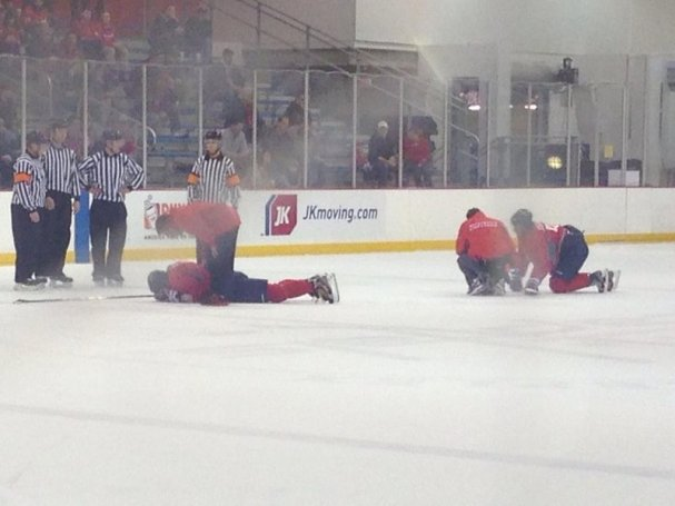 Alex Ovechkin lay on the ice in pain