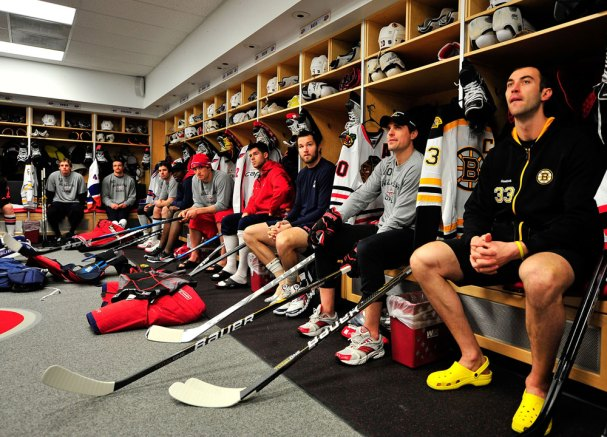 Alex Ovechkin and Mike Green in the lockerroom