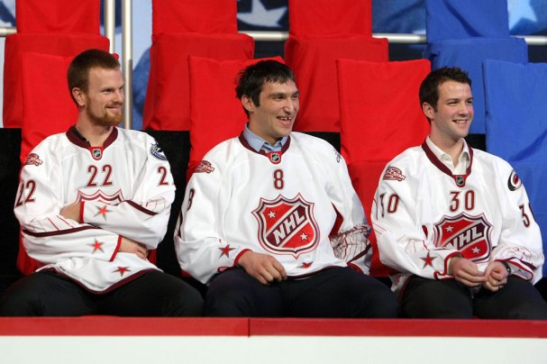 Ovechkin shares a laugh with Sedin and Cam Ward