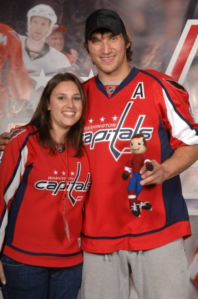Alex Ovechkin and his new doll poses with Ellen