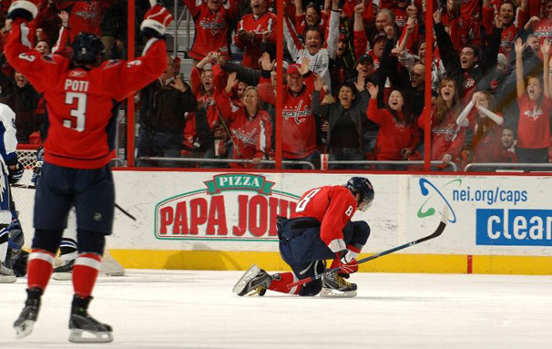 Alex Ovechkin celebrates after he nets his 35th Goal of the year in a 3-2 Victory over Tampa Bay