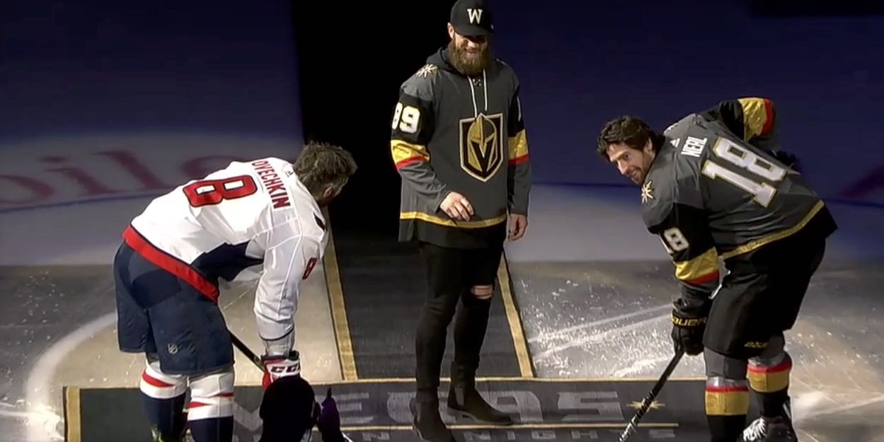0e11a2dbb0f Bryce Harper drops puck before Capitals-Golden Knights game