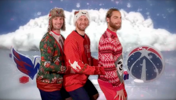ecfd7642d Caps New Holiday Video Features Ugly Sweaters and Hockey Kisses (GIF)