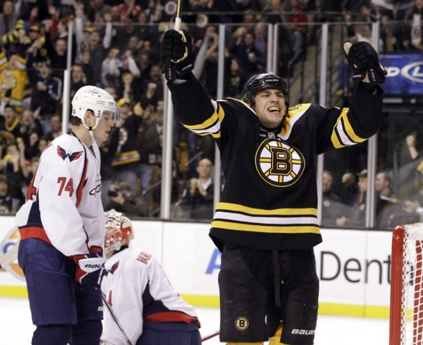 Milan Lucic celebrates as John Carlson and Semyon Varlamov turn away in horror.