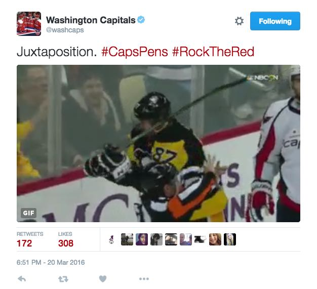 0b1bacad8ac38 The Caps Taunted the Penguins On Twitter During Their Worst Loss of the  Season