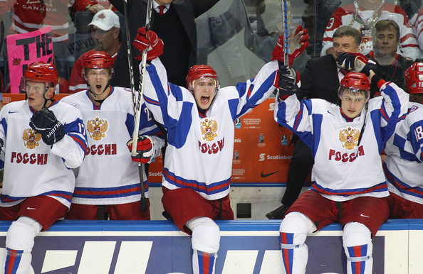 Dmitri Orlov celebrates at the bench