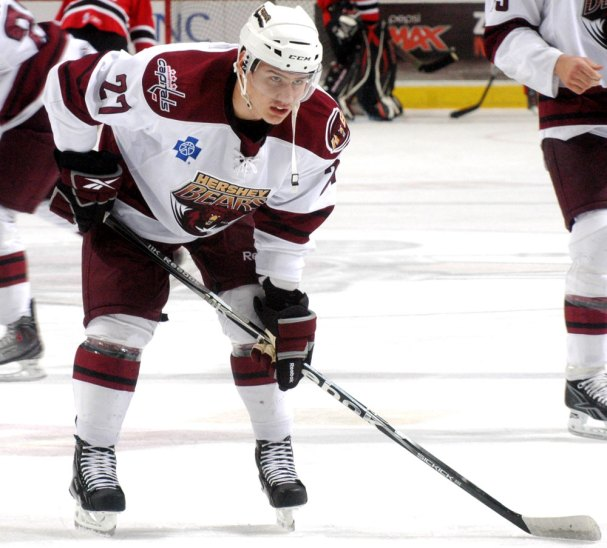 Dmitri Orlov during warm-ups in his first pro game with the Hershey Bears