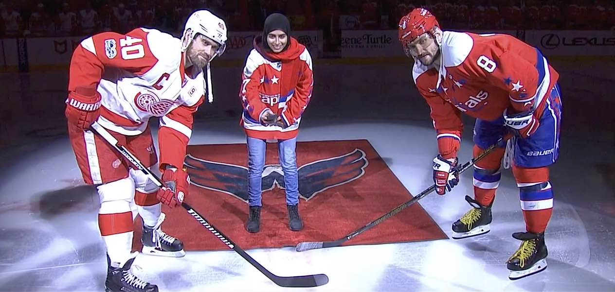 a44c7f13618 Fatima Al Ali drops puck during ceremonial faceoff