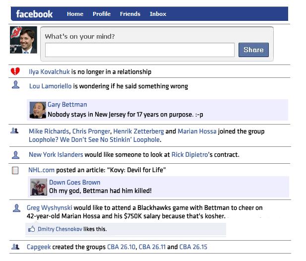 Ilya Kovalchuk's Facebook Feed