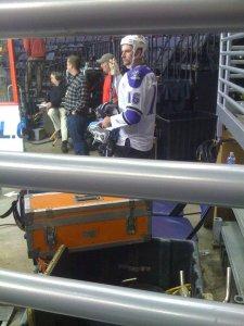Jerry awaits to step onto the set.