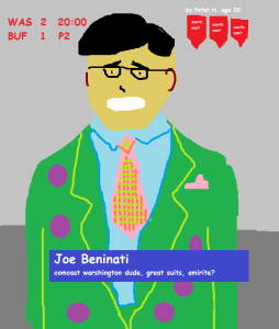 Joe B suit of the night (artist's rendition by Pete H., age 30)