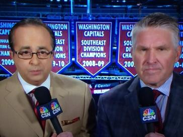 Joe B suit of the night: some one make sense of that tie for me. It is like two ties at once.