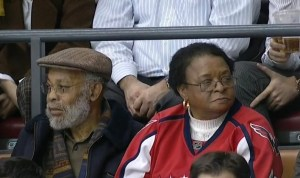 Joel Ward's parents in the crowd tonight at Air Canada Centre. (Screenshot by welshhockeyfan)