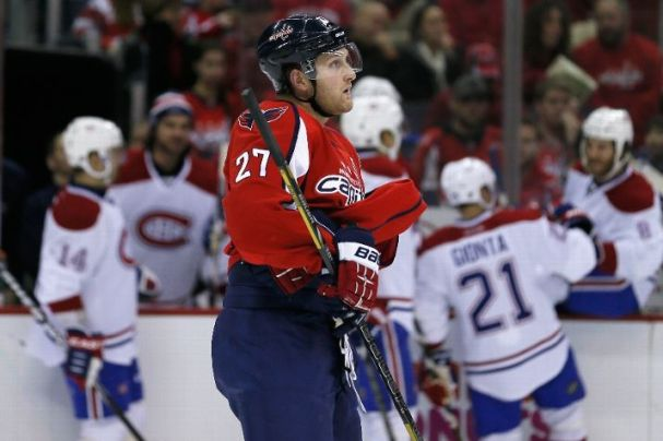 Karl Alzner skates off the ice after the Habs score in the second period