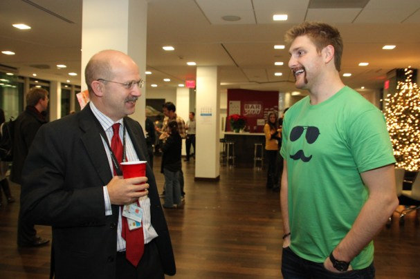 Karl Alzner chats with his fellow Movemberist, Dominick Chilcott.