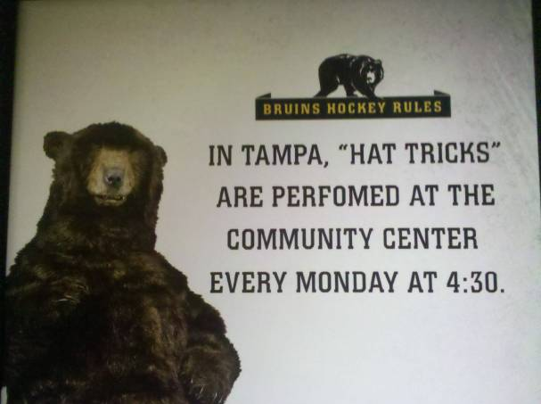 "In Tampa, ""Hat Tricks"" are performed at the community center every Monday at 4:30."