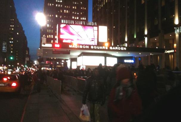 Emily Karol awaiting to enter Madison Square Garden