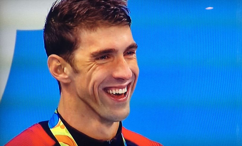 Apparently Michael Phelps laughed during the National Anthem
