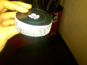 The puck Ovi blasted home for his milestone marker. (Photo credit: Sergey Kocharov)