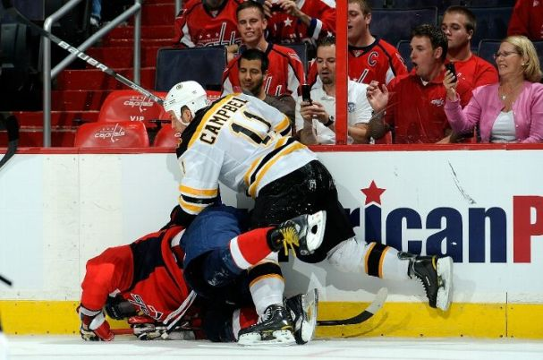 Alex Ovechkin gets checked head first into the boards by Gregory Campbell