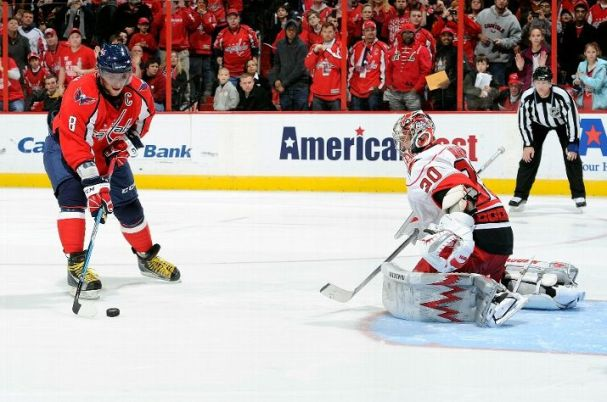 Go slow, Ovi!! Alex Ovechkin scores on Cam Ward in the shootout.