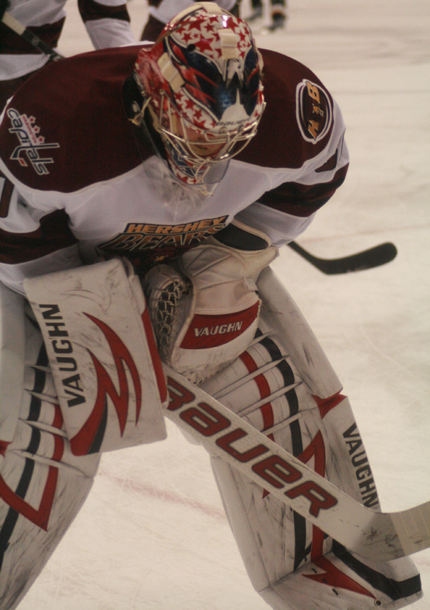 Semyon Varlamov skates during warmups