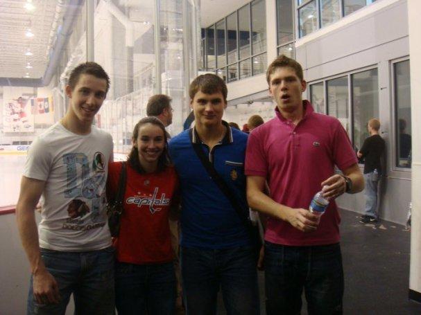 Stanislav Galiev, Dmitri Orlov and Evgeny Kuznetsov pose with Christine Fields