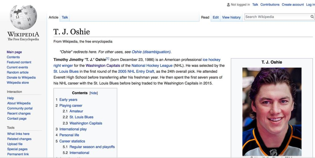 According to Wikipedia, TJ Oshie's first name is Timothy Jimothy