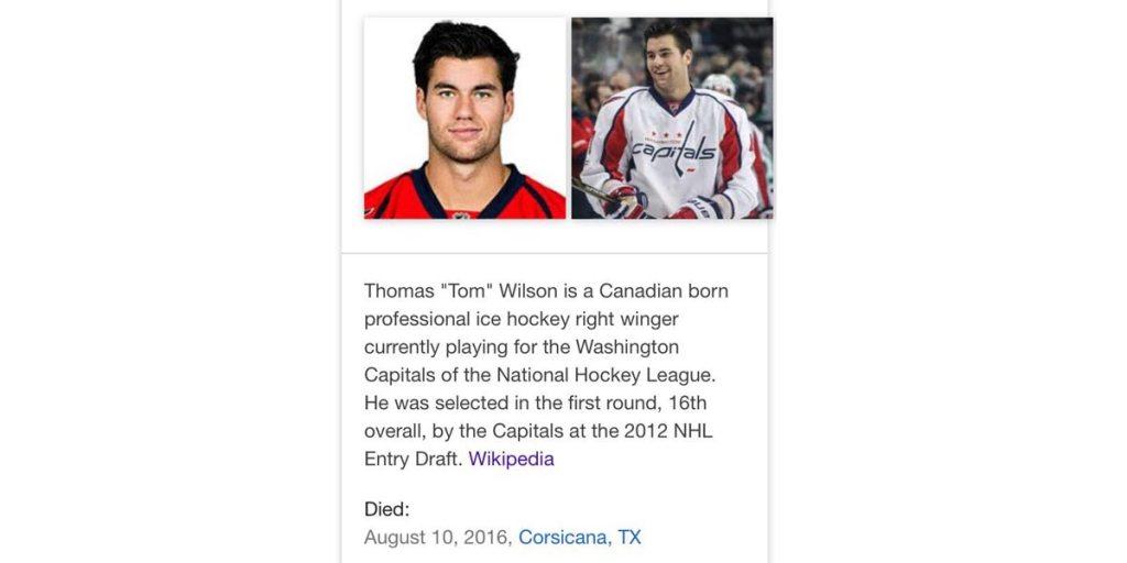 According To Google Tom Wilson Is Dead Spoiler Alert He S Not