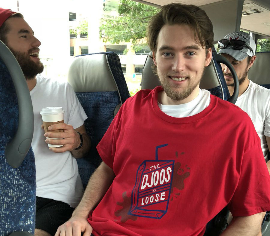 promo code 2613b 3147a TJ Oshie trades fan for his RMNB 'The Djoos is Loose' t-shirt