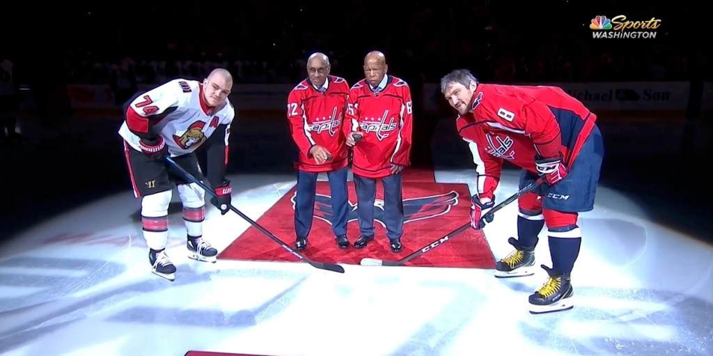 Civil rights leader John Lewis drops ceremonial puck with NHL s first black  player 2426f5441fc
