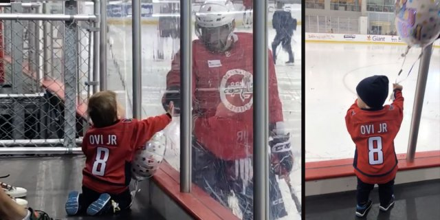 Ovi Jr surprises Alex Ovechkin at practice with Happy Birthday balloons, taps on the glass
