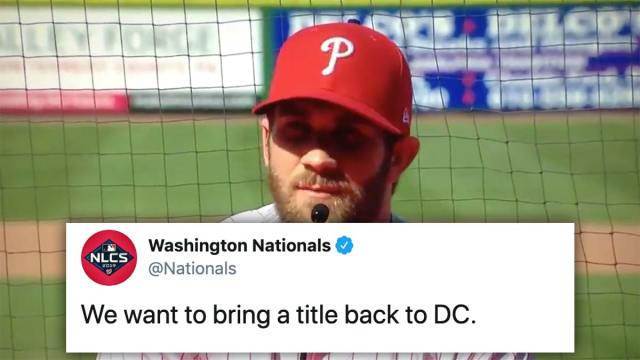 Washington Nationals taunt Bryce Harper ahead of potential NL pennant clinching game