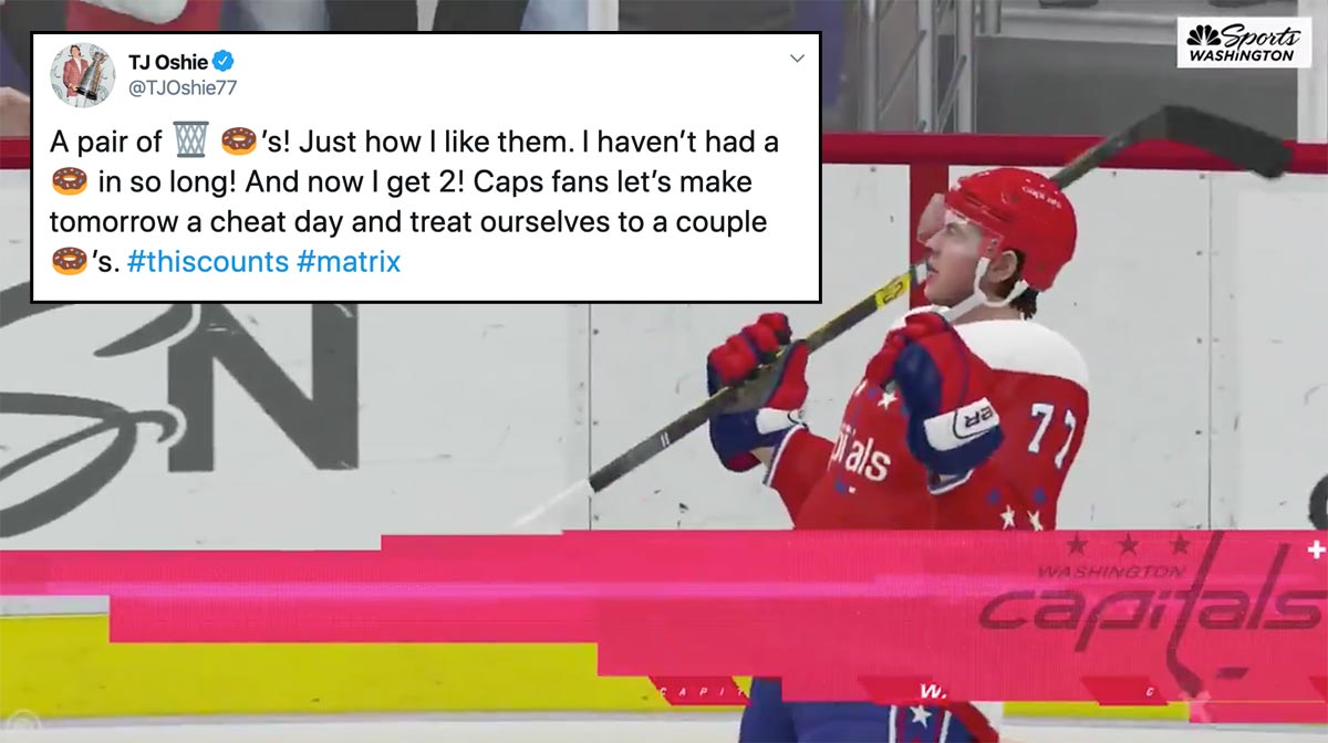 TJ Oshie declares tomorrow a 'cheat day' after scoring two goals virtually
