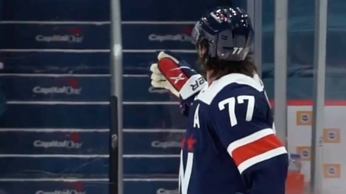 TJ Oshie continues to throw pucks into the crowd despite there being no fans at games