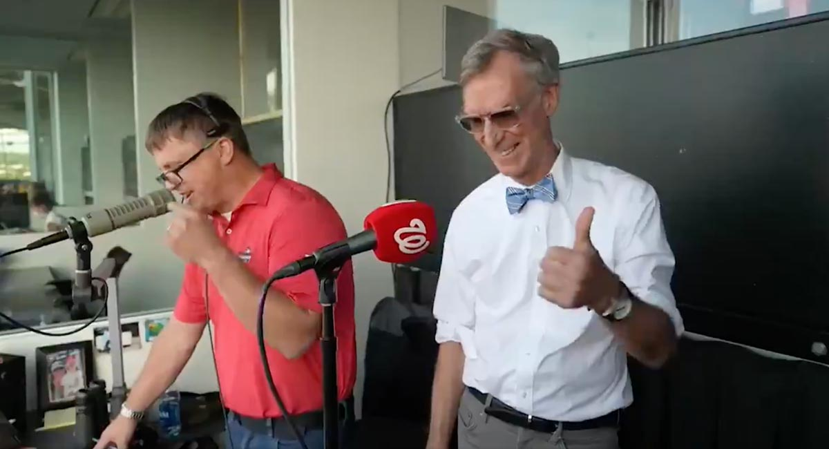Bill Nye announces starting lineup for Washington Nationals