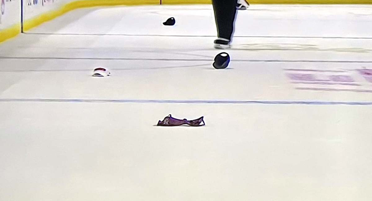 Fan throws bra on the ice after TJ Oshie hat trick goal