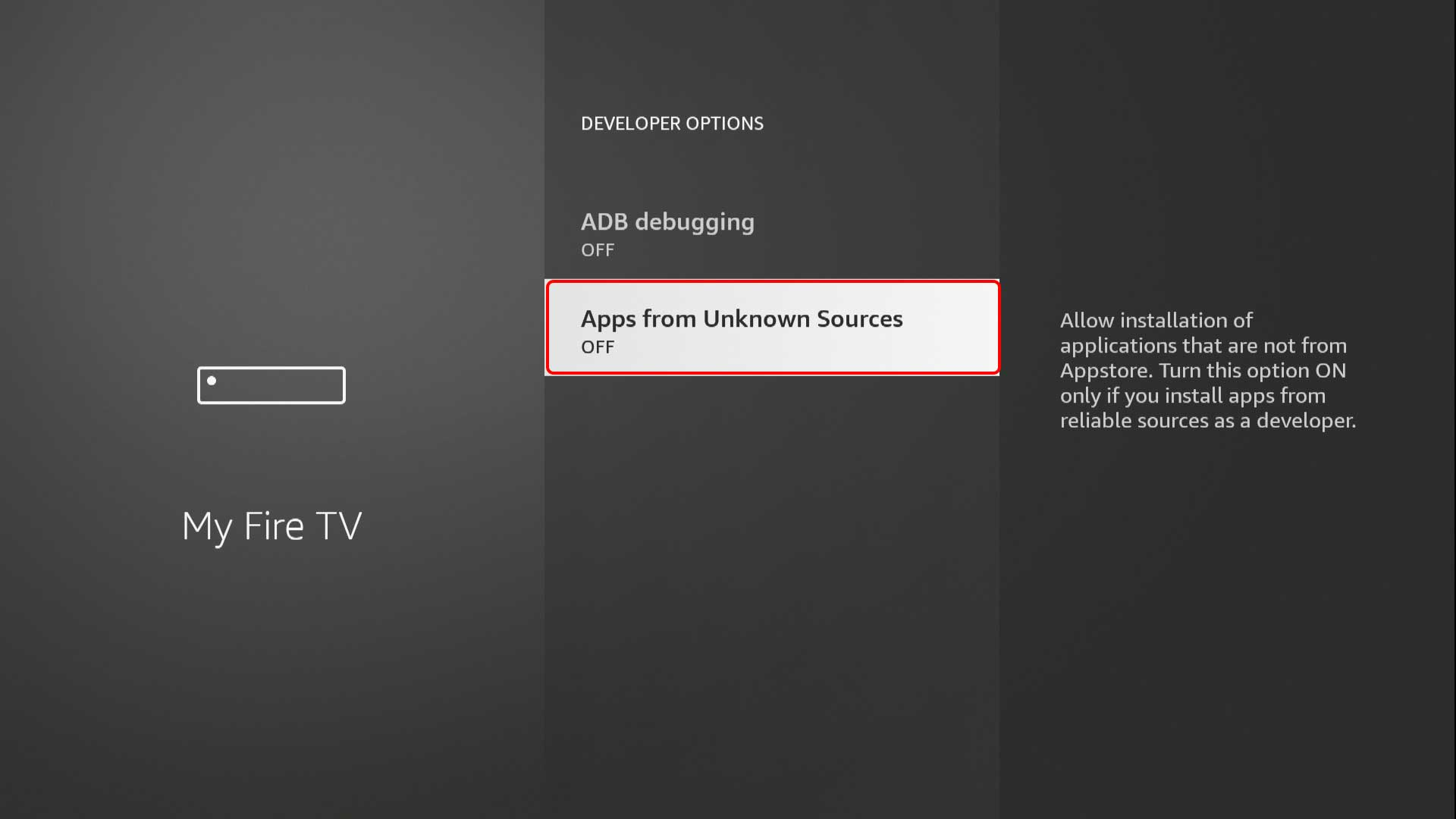 """Опция """"Apps from Unknown Sources"""" Amazon Fire TV Stick"""