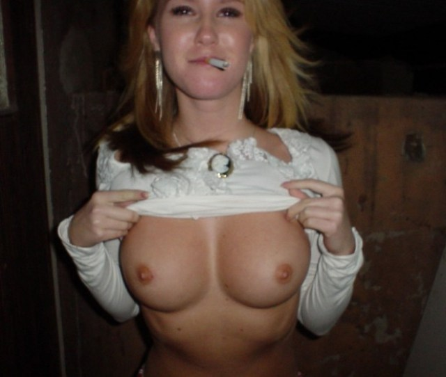 Smoking Blonde Shows Her Perfect Big Boobs Jpg