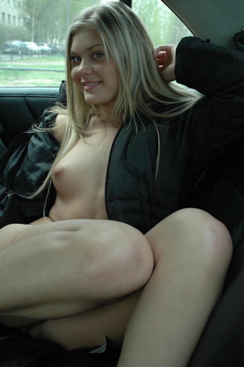 Very hot blonde masturbates in car  Russian Sexy Girls