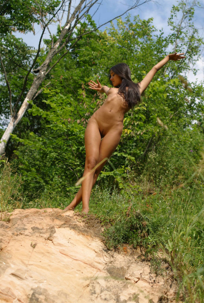 Russian teen Kamilla with perfect body outdoors  Russian