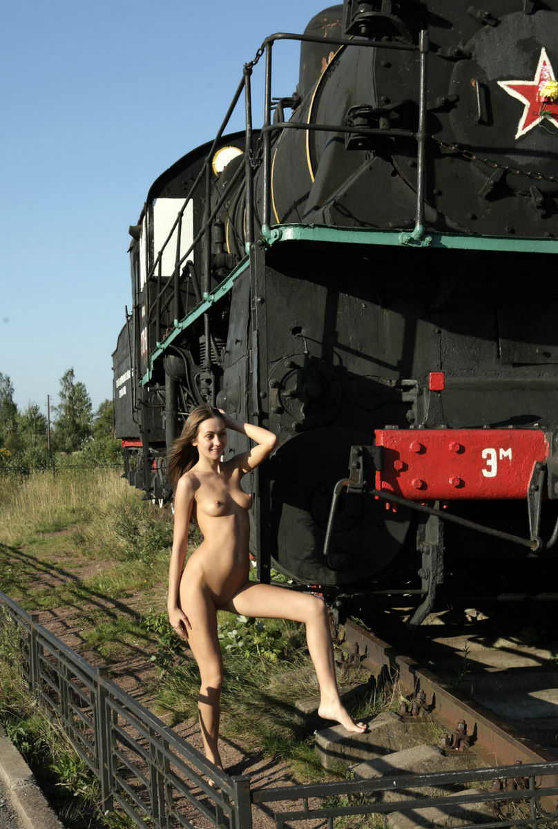 Cute girl Angel C posing at train monument  Russian Sexy Girls