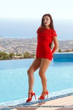 Berenice Strips Her Sexy, Red Dress As She Flaunts Her Hot Body and Shaved Pussy By The Pool 2